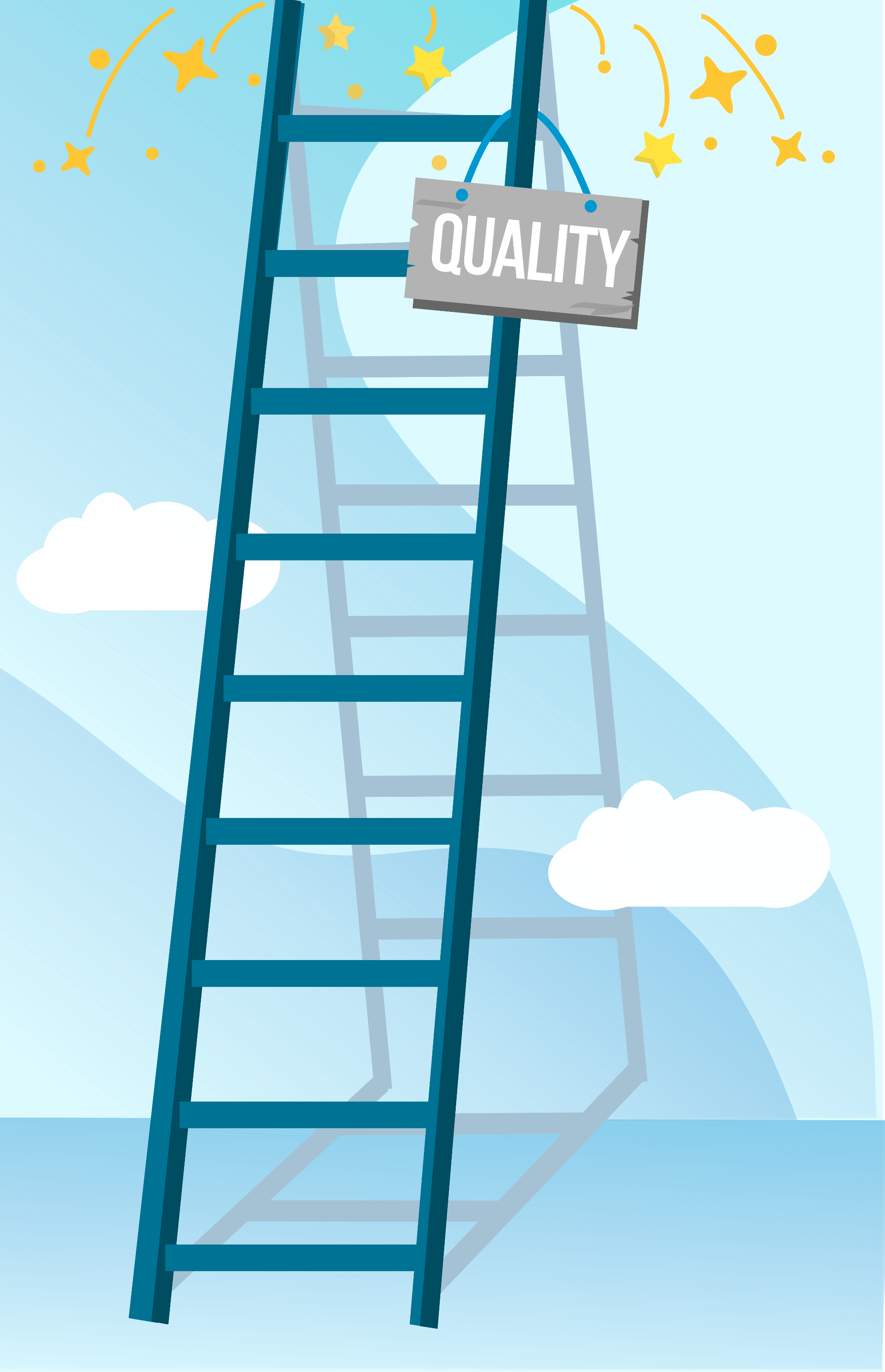 "Graphic of a ladder from which a sign saying ""Quality"" dangles."