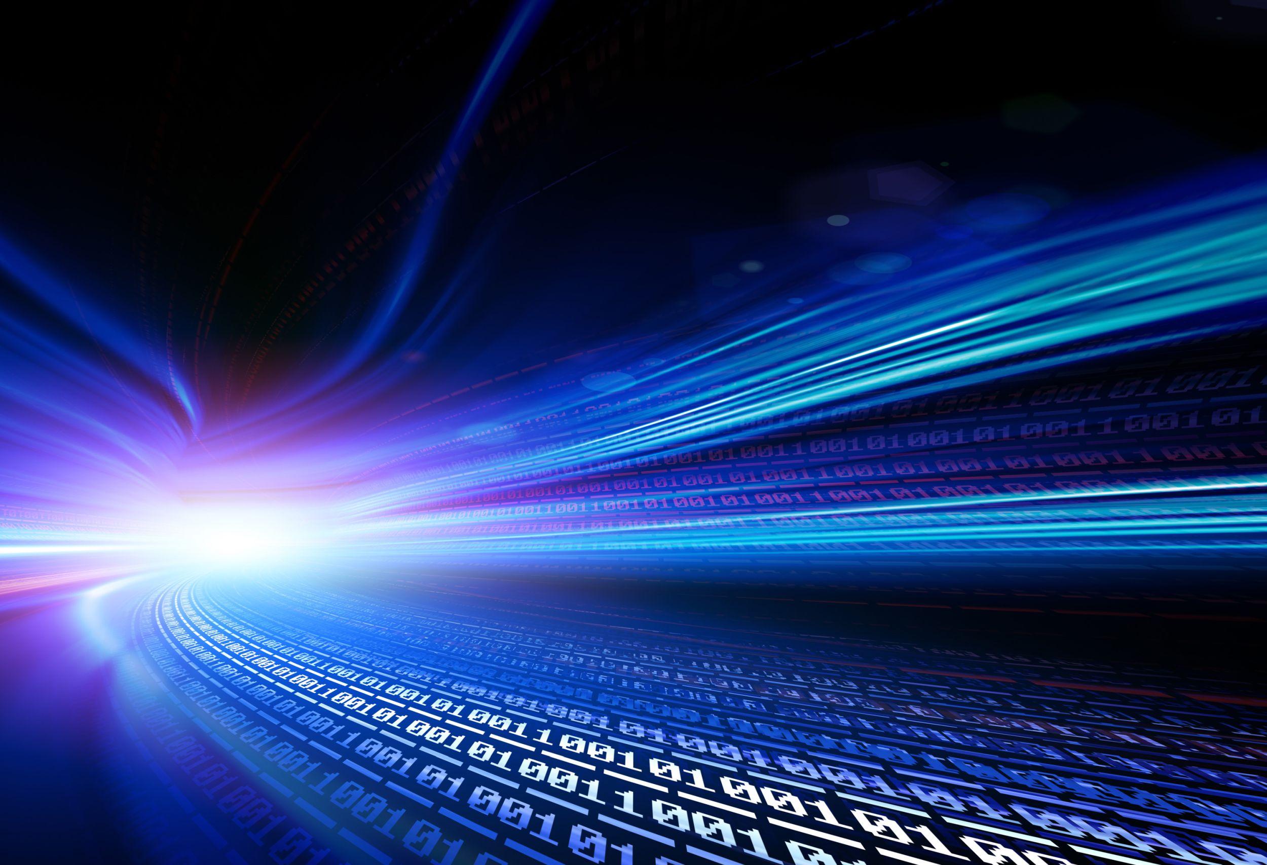 White data streams on a dark blue ground.